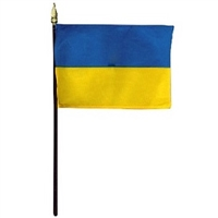 Ukraine Miniature Desk Flag 4inx6in