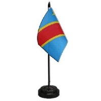 DR Congo Mini Flag 4inx6in with Stand