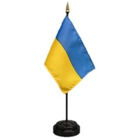 Ukraine Mini Flag 4inx6in with Stand