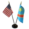 DR Congo/USA Mini Flag 4inx6in Combo