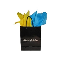 Black gloss adoption gift bag with yellow and blue tissue paper, ready for Kazakhstan adoption gifts