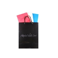 Black gloss adoption gift bag with red, white, and blue tissue paper, ready for Russia adoption gifts