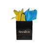 Black gloss adoption gift bag with yellow and blue tissue paper, ready for Ukraine adoption gifts