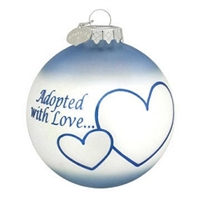 Adopted with Love Blue Ornament