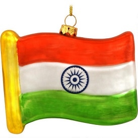 India Flag Replica Glass Ornament
