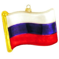 Russia Flag Replica Glass Ornament