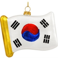 South Korea Flag Replica Glass Ornament