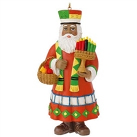 Kwanzaa Santa Resin Ornament