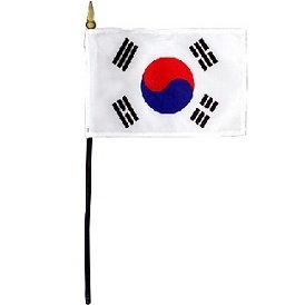 South Korea Miniature Desk Flag 4inx6in