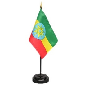 Ethiopia Mini Flag 4inx6in with Stand
