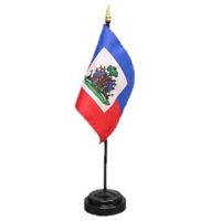 Haiti Mini Flag 4inx6in with Stand