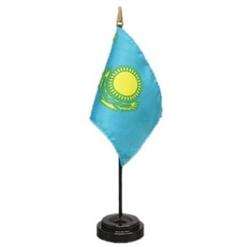 Kazakhstan Mini Flag 4inx6in with Stand