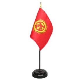 Kyrgyzstan Mini Flag 4inx6in with Stand