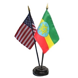 Ethiopia/USA Mini Flag 4inx6in Combo