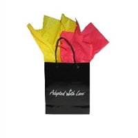 Black gloss adoption gift bag with red and yellow tissue paper, ready for China adoption gifts