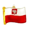 Poland Flag Replica Glass Ornament