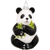 Detailed Panda Glass Ornament