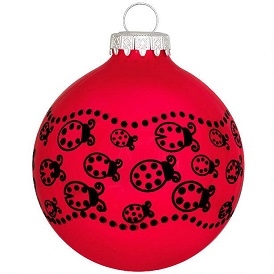 Ladybugs Red Glass Ornament